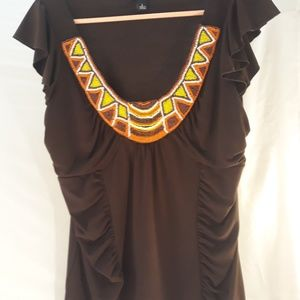 Brown beaded blouse